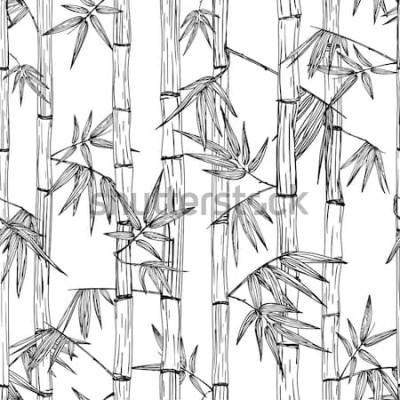 Наклейка Вектор бесшовные бамбуковый лес шаблон. Черно-белая рука нарисованные эскиз фон. Дизайн для модной текстильной печати, азиатский спа и массаж, косметическая упаковка, мебельные материалы.
