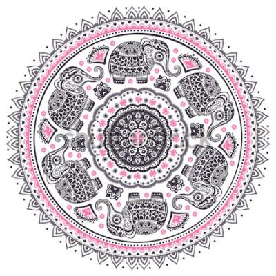 Наклейка Урожай графический вектор Индийский лотос милый этнических слон мандала шаблон. Африканский племенной орнамент. Может использоваться для раскраски, текстиля, принтов, чехлов для телефонов, открыток, в