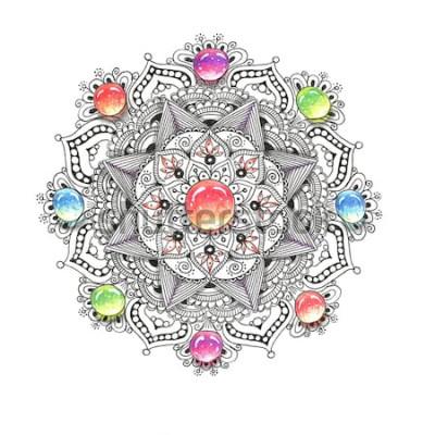 Наклейка Акварель красочные мандалы с драгоценными камнями. Красивый старинный круглый узор. Ручной обращается абстрактный фон. Приглашение, печать на футболках, свадебные открытки. Декор для вашего дизайна в