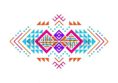 Наклейка Орнамент в ацтекском стиле. Американские индейцы орнамент дизайн. Племенной декоративный шаблон. Этнические украшения. Красочный фон.
