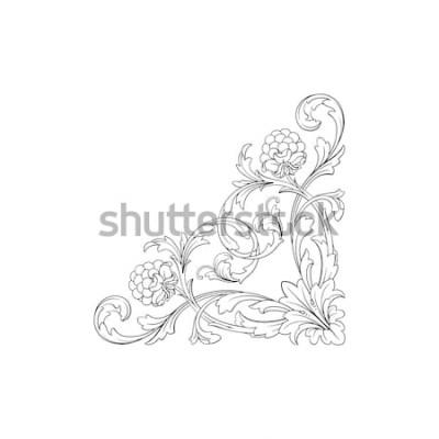 Наклейка Барочный орнамент с филигранью в векторном формате для дизайна кадра, картины. Старинные рисованной викторианской или дамасской цветочный элемент. Черно-белые гравированные чернила арт.
