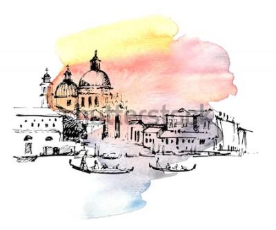 Наклейка Улицы в Венеции с гондолой, Италия. Ручной обращается эскиз на фоне красочных акварель.