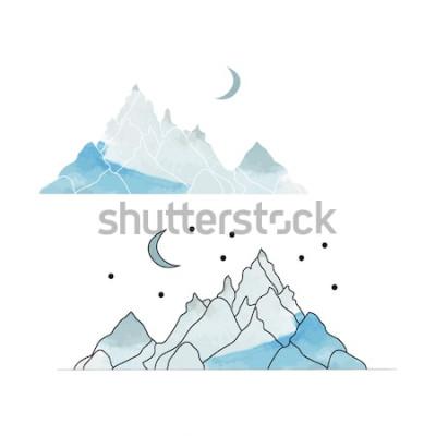 Наклейка Голубые горы. Рисунок пейзажа в стиле акварели. Векторная иллюстрация
