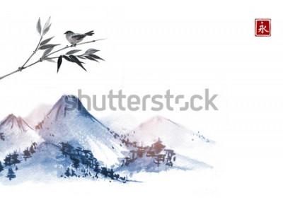 Наклейка Горы и маленькая птица на бамбуковой ветке. Иероглиф - вечность. Традиционная восточная роспись тушью суми-э, у-син, го-хуа.
