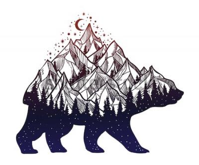 Наклейка Медведь и ночной лес горный пейзаж, двойная экспозиция, искусство татуировки дикой природы, фэнтези стиль. Вектор изолированных иллюстрация