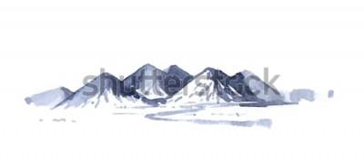 Наклейка Рисование гор акварелью