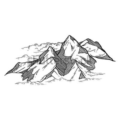 Наклейка рисованной из гор вектор iluustration