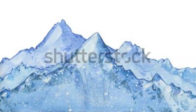 Наклейка акварель снежно-синий зимний пик. Нарисованная рукой иллюстрация зимы на белой предпосылке.