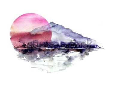 Наклейка Акварель горный пейзаж, синие, фиолетовые горы, пик, силуэт леса, отражение в реке, красное солнце заката. На белом фоне изолированные. На белом фоне изолированные.