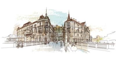 Наклейка Тройной мост (Тромостовое). Векторная иллюстрация Любляны, Словения.