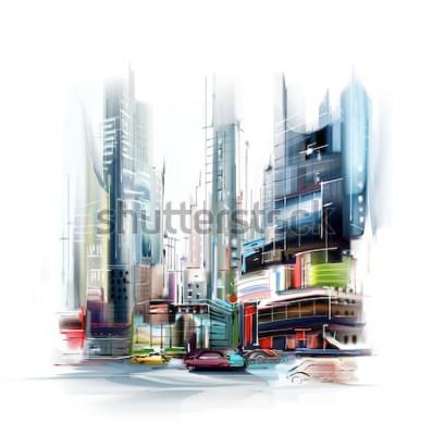 Наклейка Иллюстрация европейской городской улицы