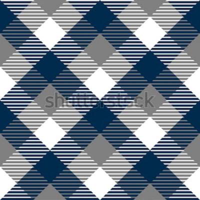 Наклейка Клетчатый ситцевом ткань бесшовные модели в синий серый и белый, вектор