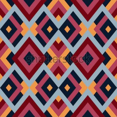 Наклейка Геометрические бесшовные векторные шаблон с треугольниками и квадратами. Бесконечный абстрактный фон для дизайна в красных, синих и желтых тонах