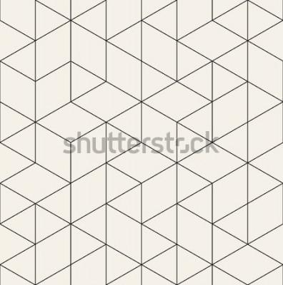 Наклейка Вектор бесшовные модели Современная стильная текстура с монохромной решеткой. Повторяя геометрическую треугольную сетку. Простой графический дизайн. Модный хипстер сакральной геометрии.
