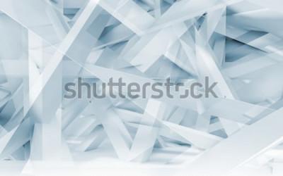 Наклейка Абстрактный фон цифровой, синий и белый хаотических прогонов полигональной модели. Синие тонированные 3d иллюстрации, компьютерная графика