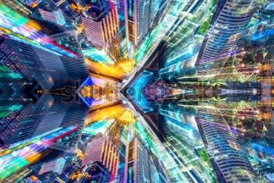 Наклейка Творческий графический sci fi абстрактный современный город фон.