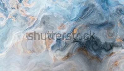 Наклейка Синий мраморный узор с серыми и золотыми включениями. Абстрактная текстура и фон. 2D иллюстрация