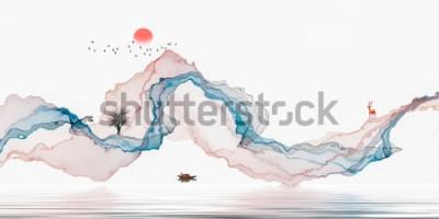 Наклейка Тушь, художественный пейзаж, абстрактные линии фона