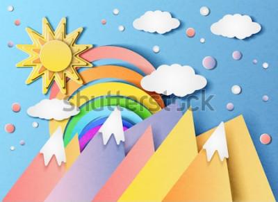 Наклейка Векторная иллюстрация красивый пейзаж с солнцем, радуга, облака и горы. В стиле вырезанной бумаги.