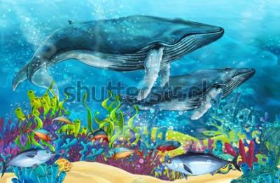 Наклейка мультипликационная сцена с китом у кораллового рифа - иллюстрации для детей