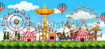 Наклейка Иллюстрация сцены тематического парка