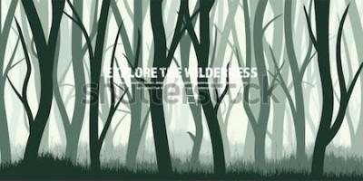 Наклейка Деревья установлены. Дикий сосновый лес, природа фон. Wood.Vector иллюстрации. Баннер. Темно-зеленое дерево. Landscape.Grass, луг.