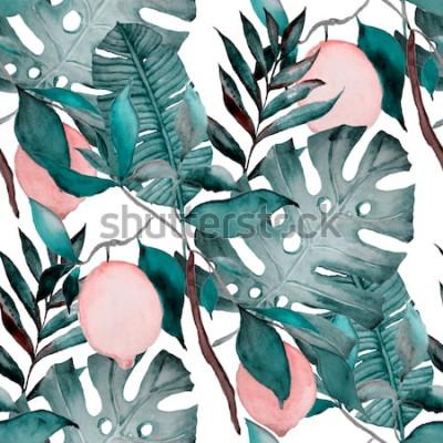 Наклейка Акварель бесшовные модели с тропическими листьями и цитрусовыми. Модный ботанический принт.