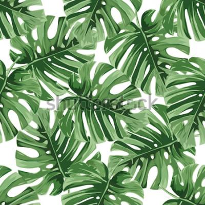 Наклейка Летний фон. Тропические пальмовые листья, джунгли листья бесшовные векторные цветочный узор.