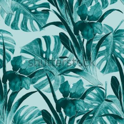 Наклейка Бесшовный тропический образец с цветами ириса и экзотическими листьями. Акварель. Ручная краска.