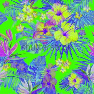 Наклейка Красивый тропический узор с росписью цветов гибискуса и райской птицы. Симпатичные окрашенные тропические иллюстрации с plumeria, пальмовых листьев и банановых листьев. Зеленый неоновый цвет тропическ