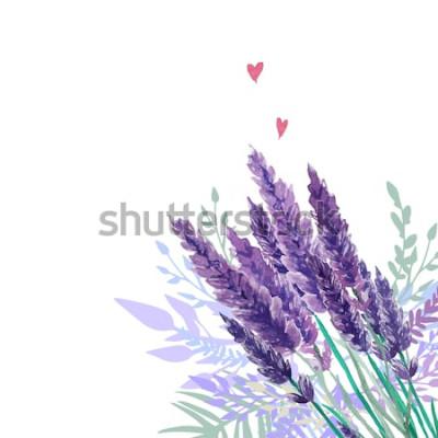 Наклейка Акварель лаванды букет фон. Рамка с ручной росписью старинные растения, цветочный декор и сердца. Векторная иллюстрация