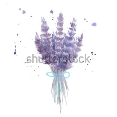 Наклейка Акварельный букет лаванды. Эскиз лаванды цветы с голубой лентой и брызги акварель. Отдельные векторные иллюстрации