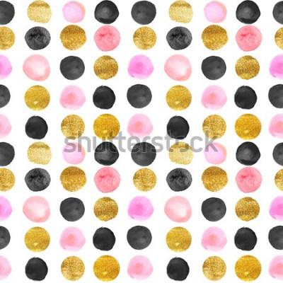 Наклейка узор из золотых и розовых точек. акварель рисованной