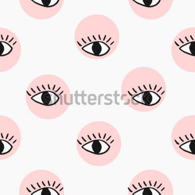 Наклейка Современные бесшовные модели с рисованной глазами.