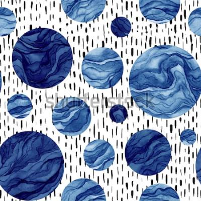 Наклейка Ручной обращается бесшовные модели акварель синие круги. Мраморная текстура