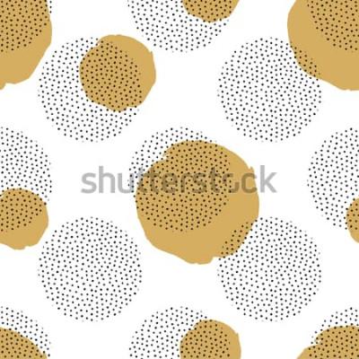Наклейка Вектор бесшовный образец с круглыми пунктирными элементами и золотыми кругами. Модный фон Мемфис.