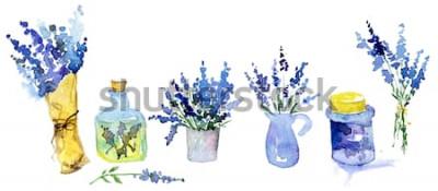 Наклейка Коллекция цветов лаванды на белом фоне. Старинные цветы установлены. Травы из сада. Травы, изолированные на белом. Травяное растение. садово-парковое проектирование. флорист, оформление растений. Изол