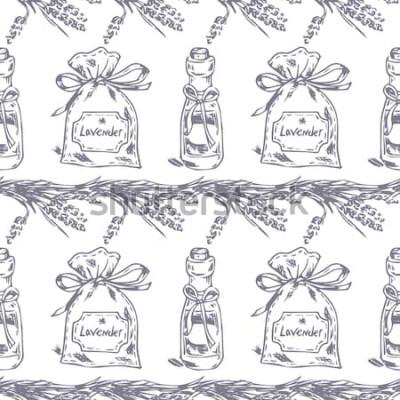 Наклейка Вектор бесшовные модели Лавандовая тема Прованса. Узор с графическим лавандовым саше и маслом. Цифровые рисованные иллюстрации в сиреневый цвет. Винтажная картина элементов лаванды изолированных на бе