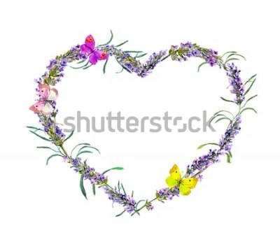 Наклейка Лаванда цветы и бабочки. Акварельная цветочная сердечная рамка для Дня святого Валентина, свадьбы