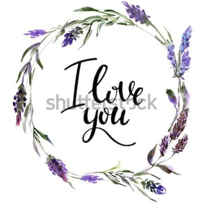 Наклейка Валентина венок. Акварельные цветочные иллюстрации с надписью я тебя люблю