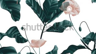 Наклейка Бесшовные, коричневые цветы мака с зелеными листьями на белом фоне
