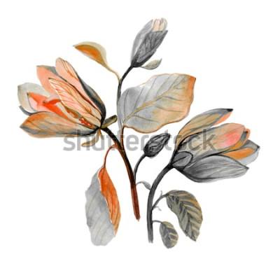 Наклейка Акварель рисованной красивый цветок магнолии. Композиция из осенних зеленых цветов. Осенний букет.