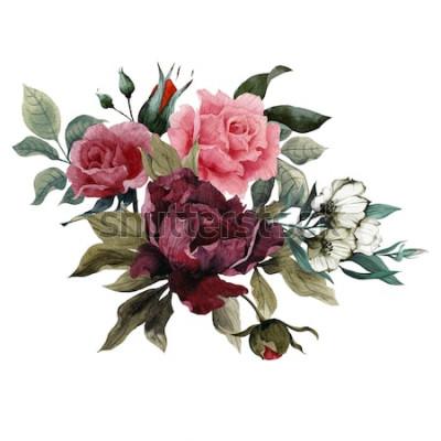 Наклейка Букет из роз, пионов и эустомы, акварель, можно использовать в качестве поздравительной открытки, пригласительного билета на свадьбу, день рождения и другой праздничный и летний фон