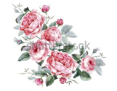 Наклейка Классическая винтажная цветочная открытка, акварельный букет английских роз, красивая акварельная иллюстрация
