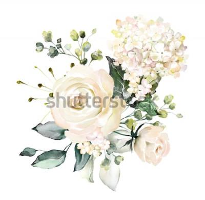 Наклейка акварельные цветы. цветочные иллюстрации, листья и почки. Ботаническая композиция для свадьбы или поздравительной открытки. ветка цветов - абстракция розы, гортензия