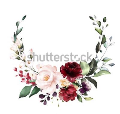 Наклейка Карта. Акварельный дизайн приглашения с бордовыми и красными розами, листьями. цветок, фон с цветочными элементами, ботанические акварель иллюстрации. Старинный шаблон. венок, круглая рамка