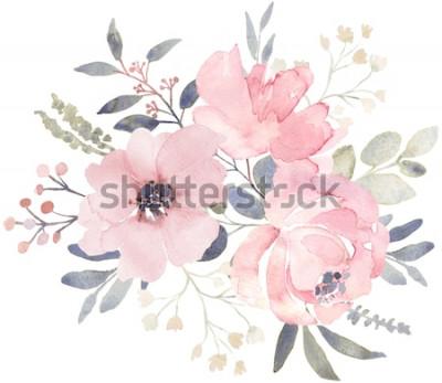 Наклейка Композиция букета украшена пыльными розовыми акварельными цветами и зеленью эвкалипта