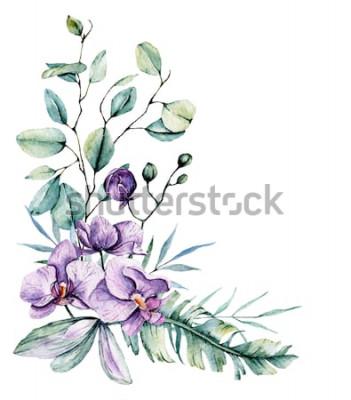 Наклейка Акварельные тропические цветы, граница с листьями и орхидеями. Ботаническая живопись, аранжировка для свадебной открытки, поздравления, фоны, приглашения, блог и т. Д. Изолированные на белом.