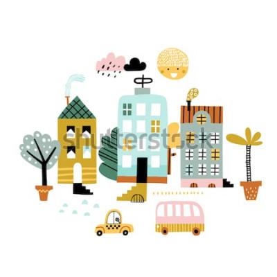 Наклейка Мультяшный городской принт. Детские векторные иллюстрации с небоскреб, зданий и автомобилей. Дизайн для плаката, открытки, сумки и футболки, обложки. Пастельные тона Скандинавский стиль