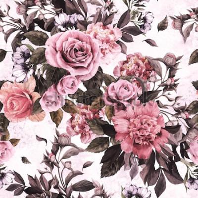 Наклейка Бесшовный цветочный узор с розовыми розами и пионами на фоне акварель.